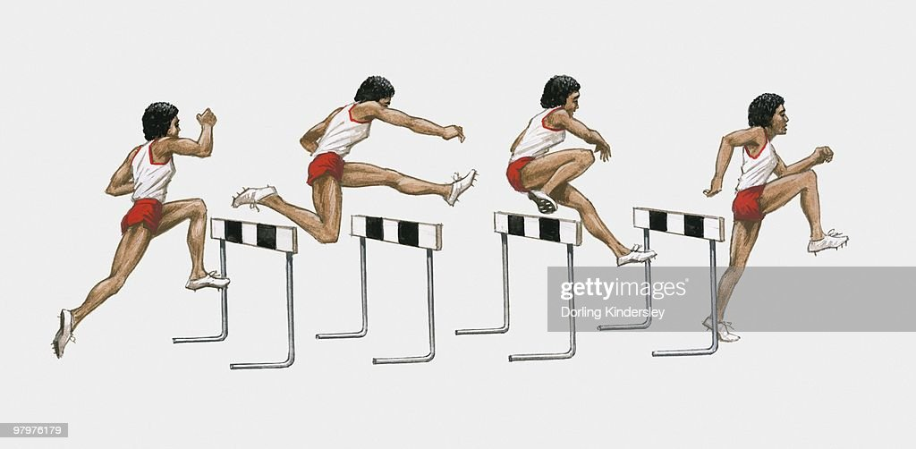 Sequence of illustrations of male athlete jumping over hurdles : Stock Illustration