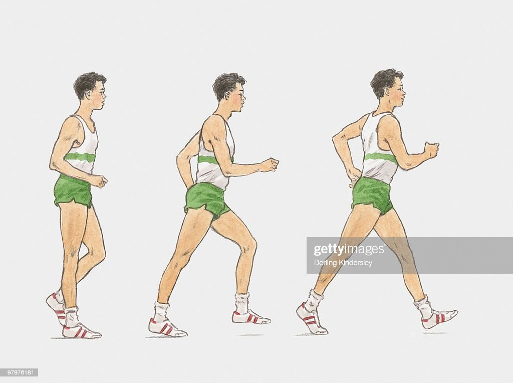 Sequence of illustrations showing male athlete racewalking : Stock Illustration