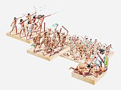 Series of illustrations of showing Aztec battle using bows and arrows, spears, clubs and spear and the enemy being taken captive