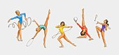 Series of illustrations showing rhythmic gymnasts using the ribbon, hoop, ball, rope and clubs