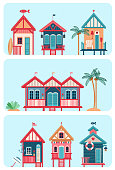 Set of 7 vector different multicolored Beach huts. Vector illustration