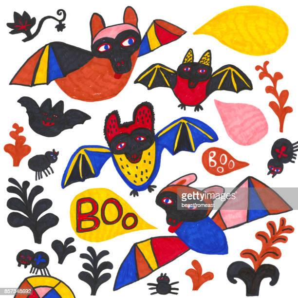 Set of bats, spiders, plants and speech bubbles