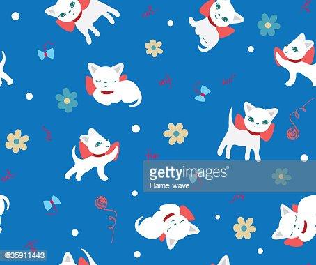 Conjunto de siluetas de fondo sin costuras de gatos : Ilustración de stock