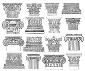 """""""Set of sixteen classical architectural column elements - Corinthian and Ionic capitals and column bases. Illustrations published in Systematische Bilder-Gallerie, Karlsruhe und Freiburg (1839)."""""""