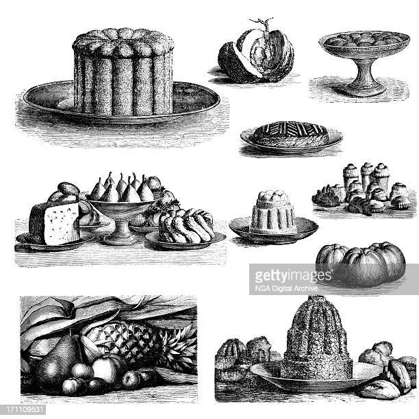 Set of Dessert Illustrations | Vintage Food and Kitchen Clipart