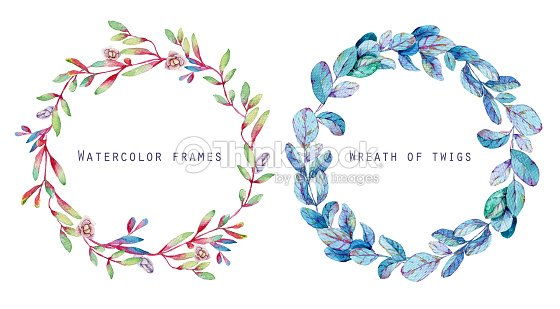 Set Of Round Floral Frames Watercolor Blue Red Twigs Stock ...