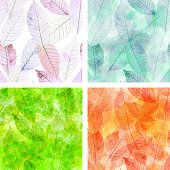 A set of seamless patterns with skeleton leaves, representing the four seasons of the year, toned in the hues of each season