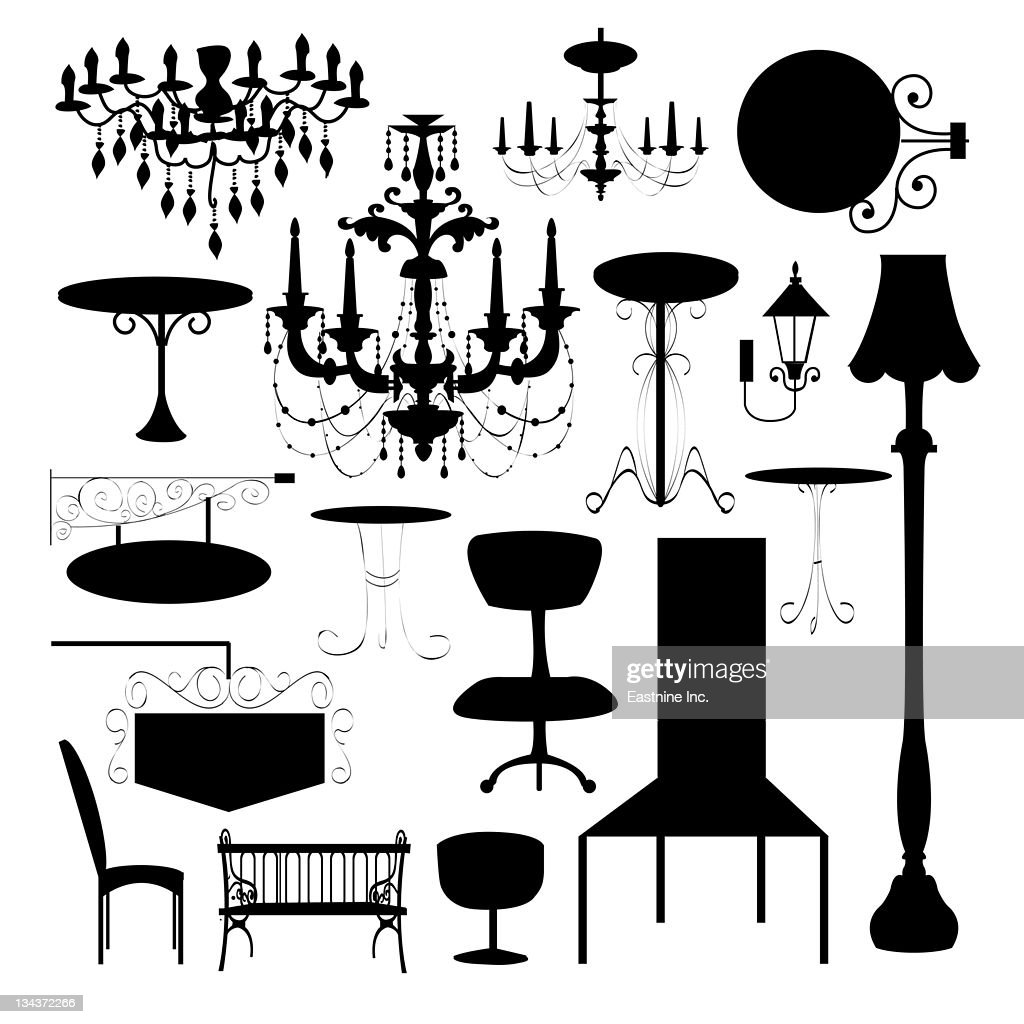 Set of silhouette of luxury chair, sign board and different type of lamp : Stock Illustration