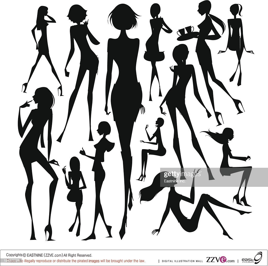 Set of silhouette of the woman at travelling  : Vector Art