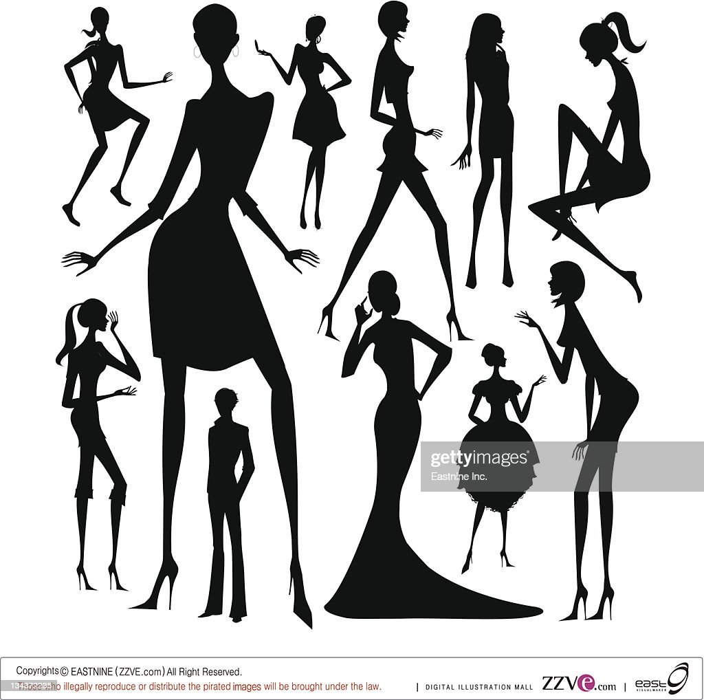 Set of silhouette of the woman in different dress isolated on white background : Vector Art