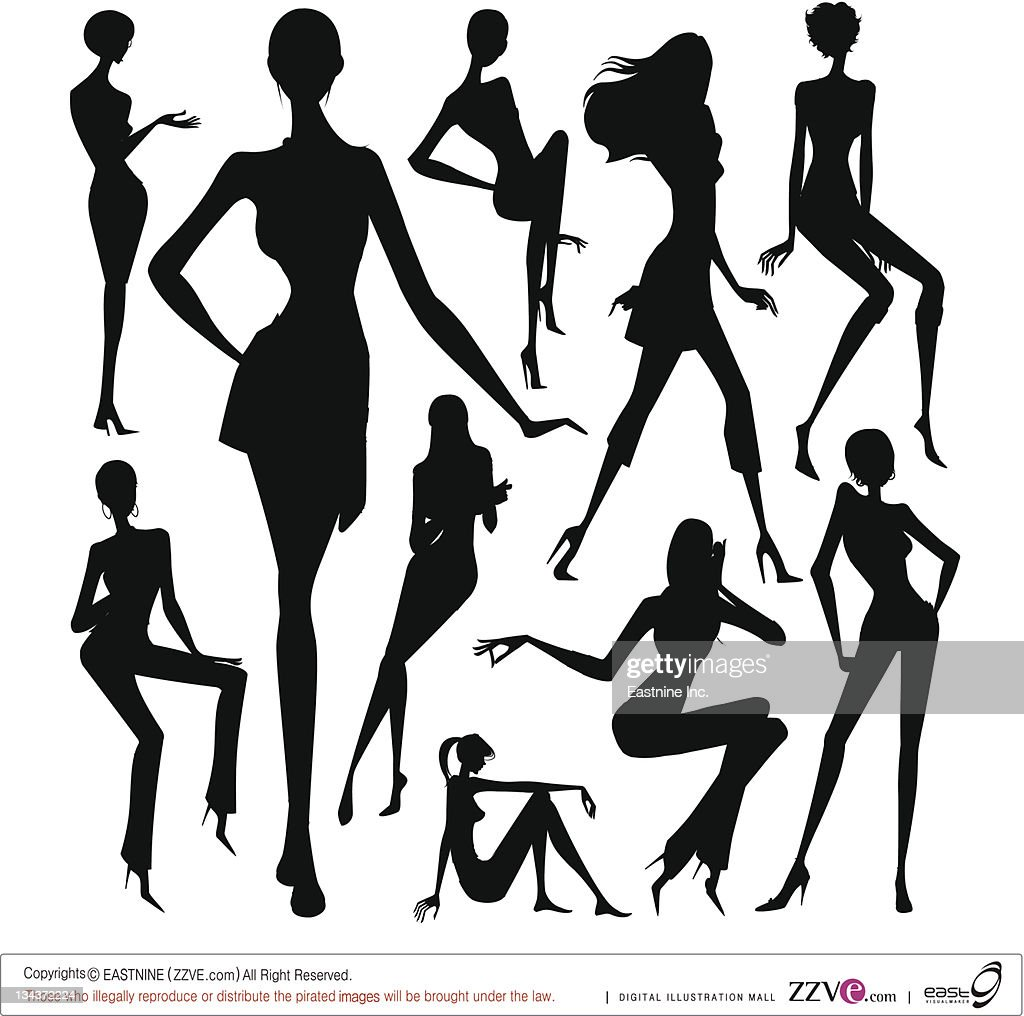 Set of silhouette of the woman isolated on white background : Vector Art