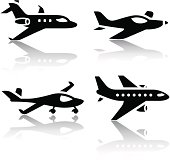 Set of transport icons - airplane.