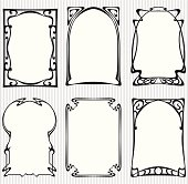 Set of six vector vintage frames in art nouveau style isolated on striped background for your text or picture.