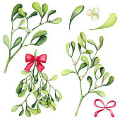 Set of Watercolor Christmas Mistletoe and Red Bows Isolated on White Background