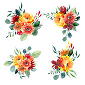 Set of watercolor floral arrangements. Collection of natural hand drawn prints with flowers and leaves. Bouquets of blossom and greenery on white background
