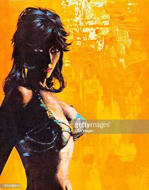 Shadowy Woman in Bikini Top