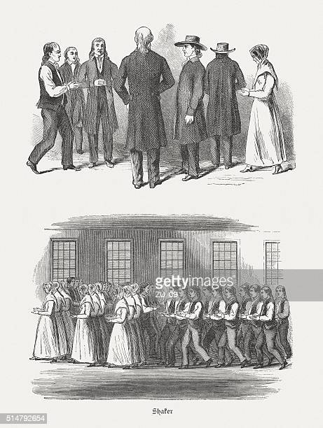 Shakers - costumes and dance, wood engravings, published in 1880