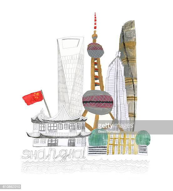 Shanghai city in China illustration