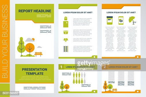 a4 sheet cover and presentation template in green theme stock, Presentation templates