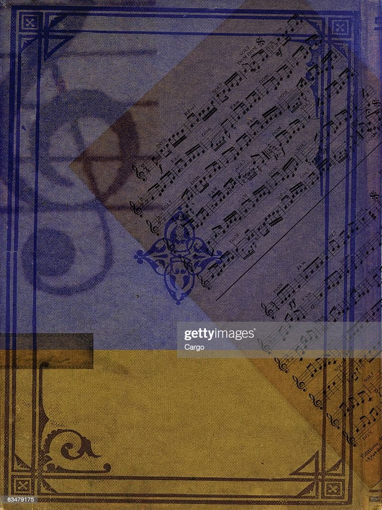 A sheet of music and a large treble clef : Stock Illustration