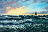 Original oil painting showing  ship   in  stormy ocean or sea on canvas. Modern Impressionism, modernism,marinism'n