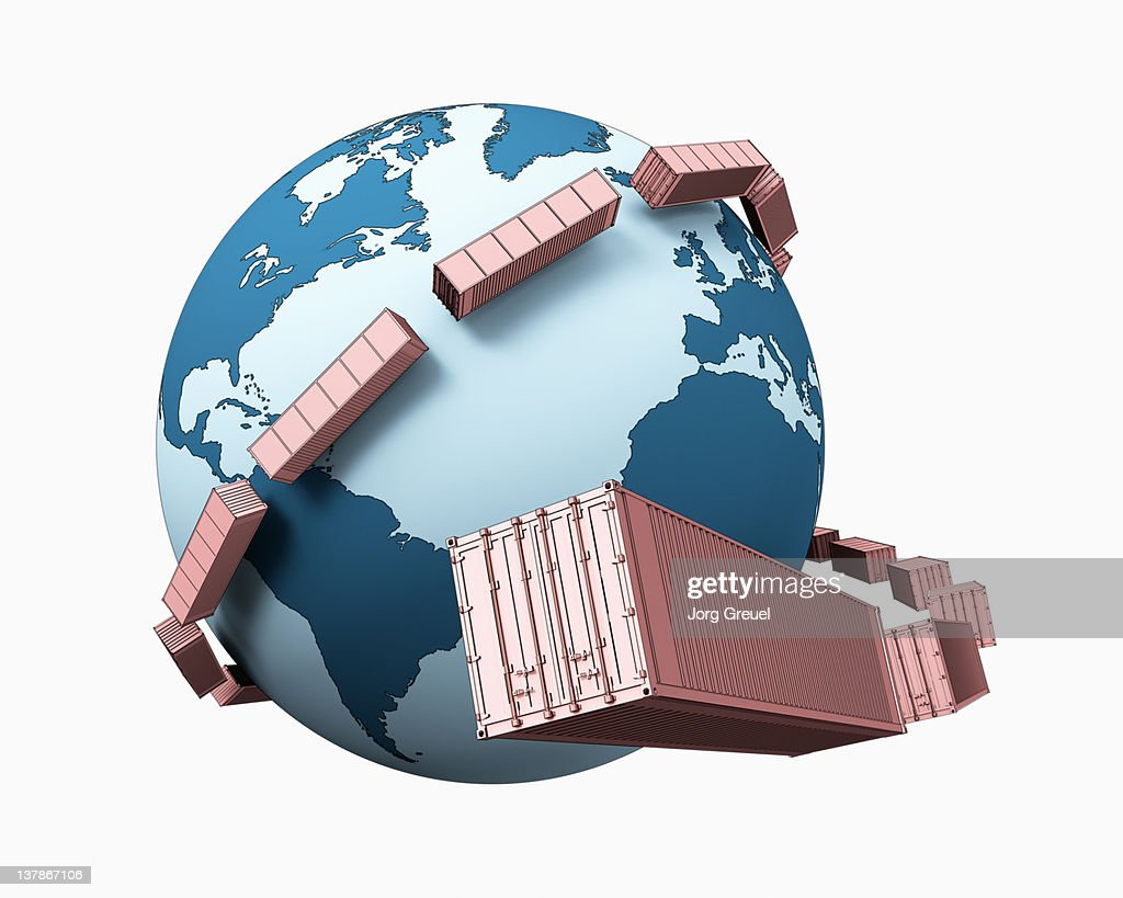 Shipping containers orbiting around Earth : Stock Illustration
