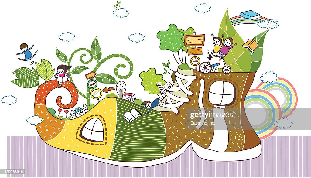 Shoes and children : Stock Illustration