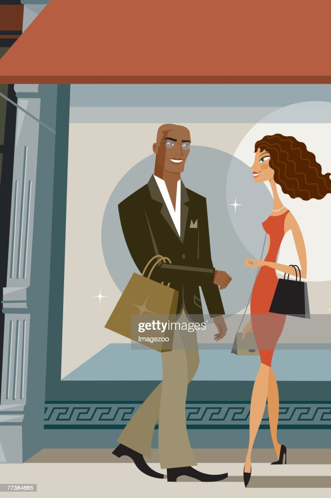 shoppers meeting on the street : Vector Art