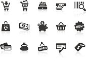 'Monochromatic shopping related vector icons for your design and application. Raw style. Files included: vector EPS, JPG, PNG and icons with euro (aA) symbol.'