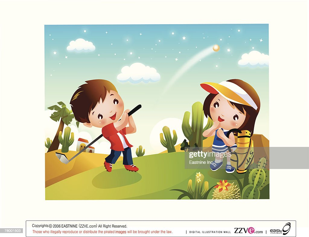 Side profile of a boy playing golf with a girl looking at him : Vector Art