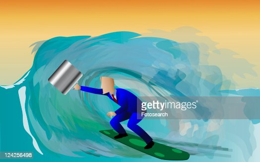 Side profile of a businessman surfing on a surfboard : Stock Illustration