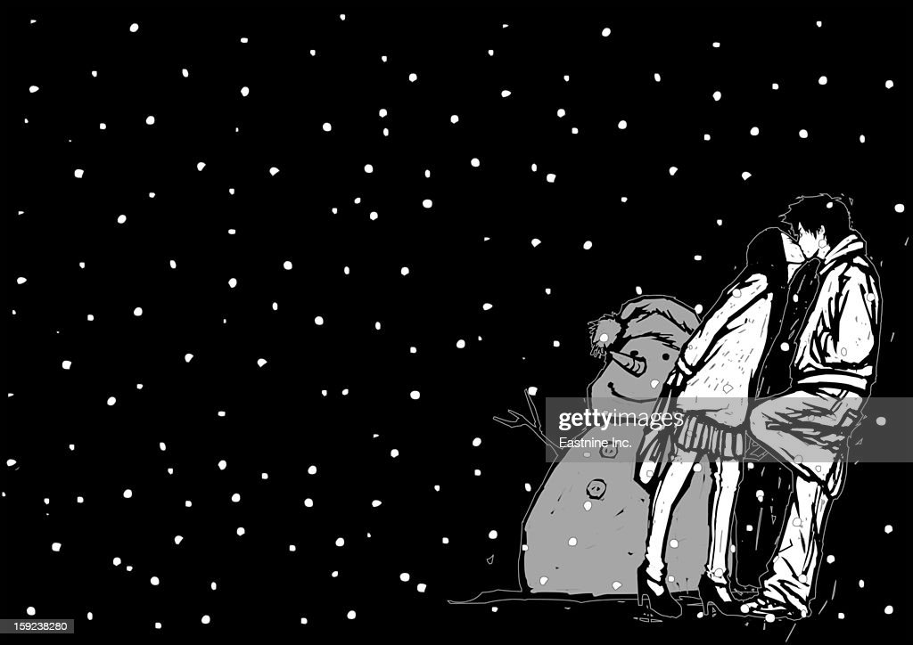 Side profile of a couple kissing each other near a snowman in snowing : Stock Illustration