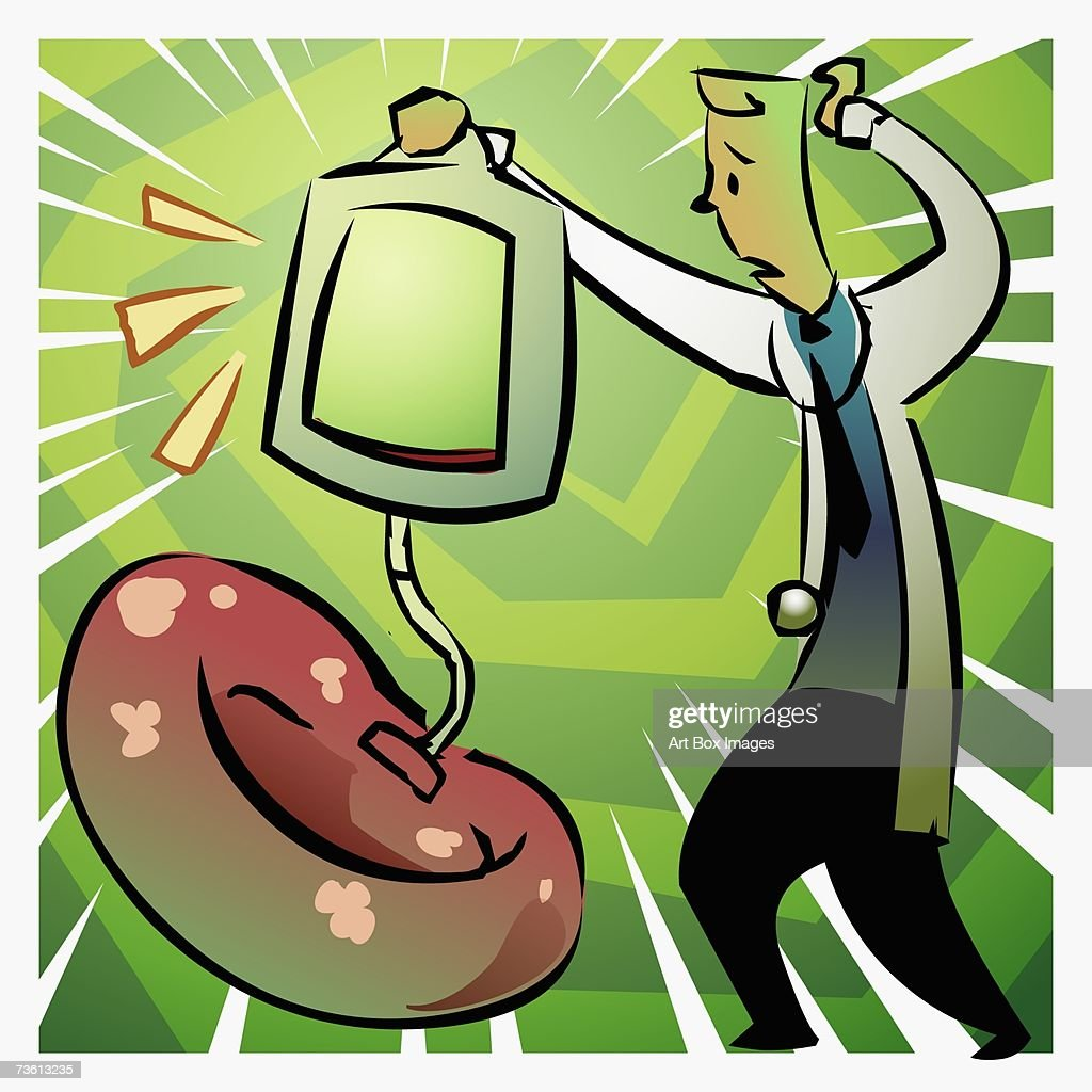 Side profile of a male doctor holding a blood bag over a red blood cell : Stock Illustration