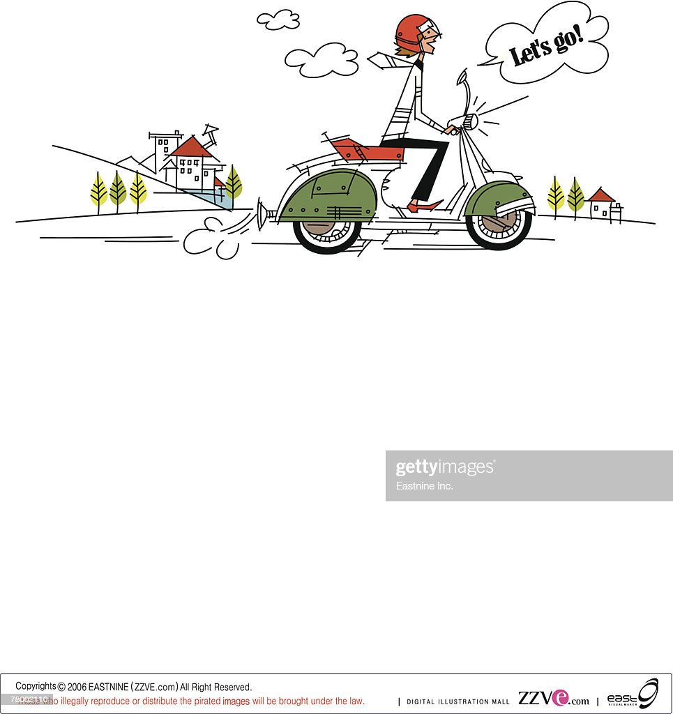 Side profile of a man riding a motor scooter : Vector Art