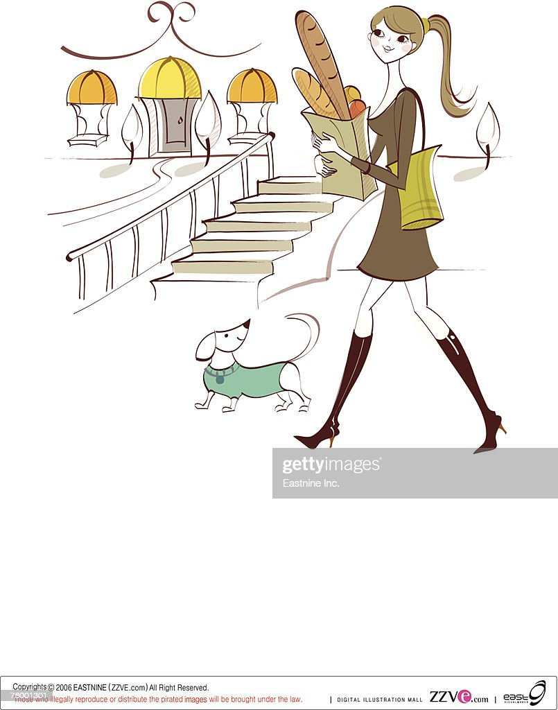 Side profile of a woman carrying shopping bags with her pets : Vector Art