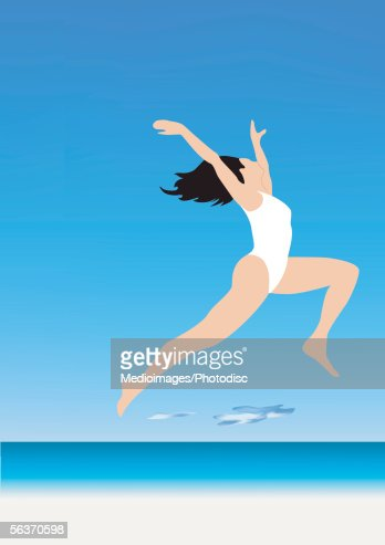 Side profile of a woman jumping with her arm raised : Stock Illustration