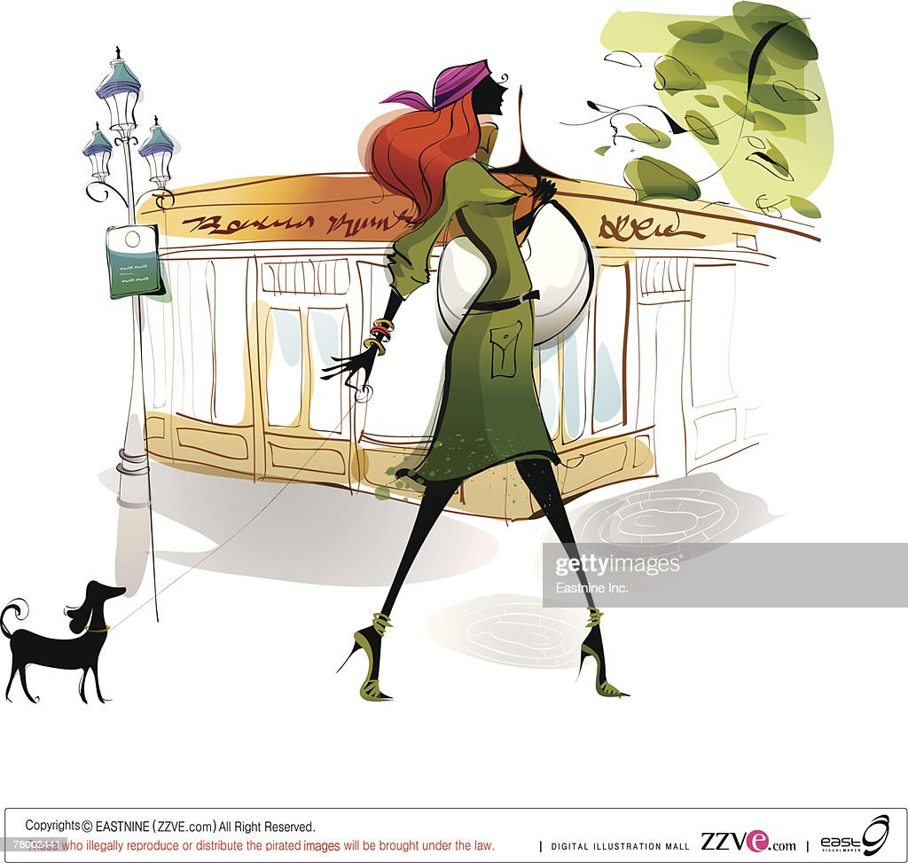 Side profile of a woman walking with a dog : Vector Art