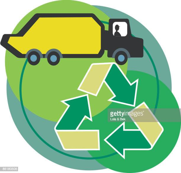 Side View Of A Cement Truck With The Recycling Symbol In The