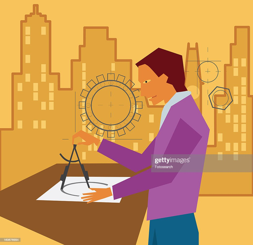Side view of an architect mapping draft : Stock Illustration