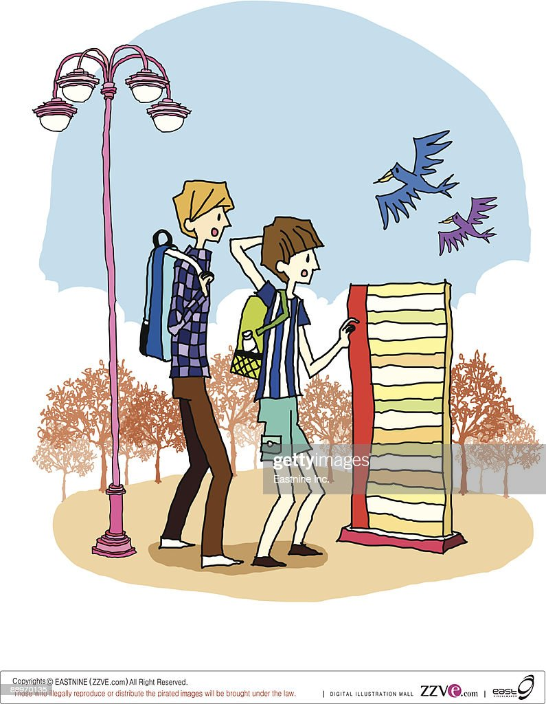 Side view of boy and girl standing by streetlight : Vector Art