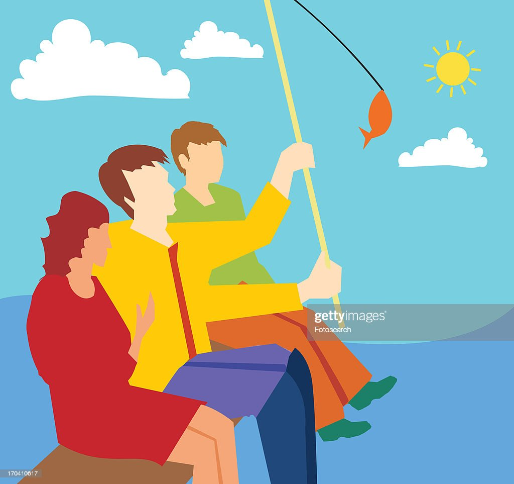 Side view of family fishing together : Stock Illustration