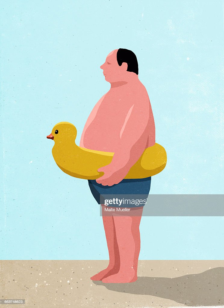Side View Of Man Wearing Inflatable Rubber Duck Ring At Beach : Stock  Illustration
