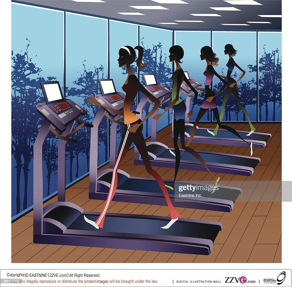 Side view of women running on treadmill : Vector Art