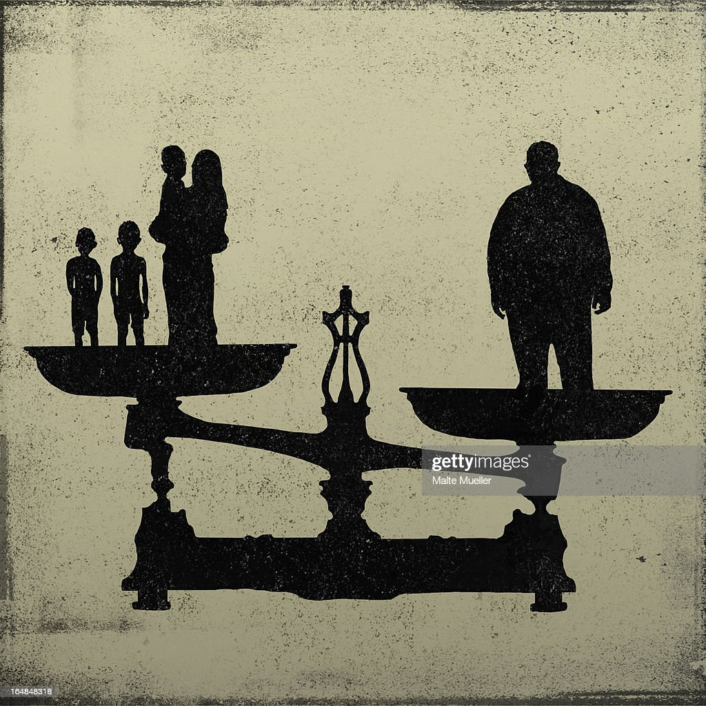 Silhouette of a big man on one end of a scale and a women and kids on the other : Stock Illustration