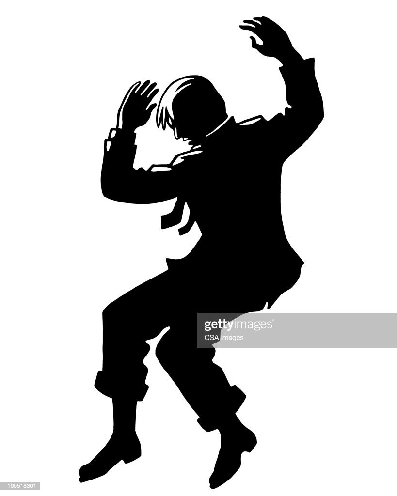 Silhouette of a Man Falling : Stock Illustration