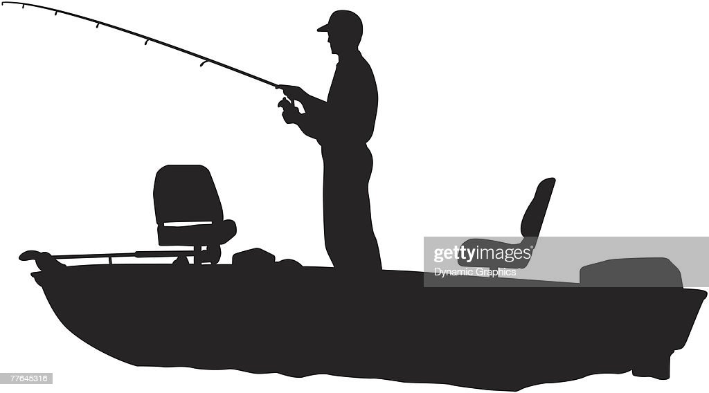 silhouette of a man fishing in a bass boat vector art