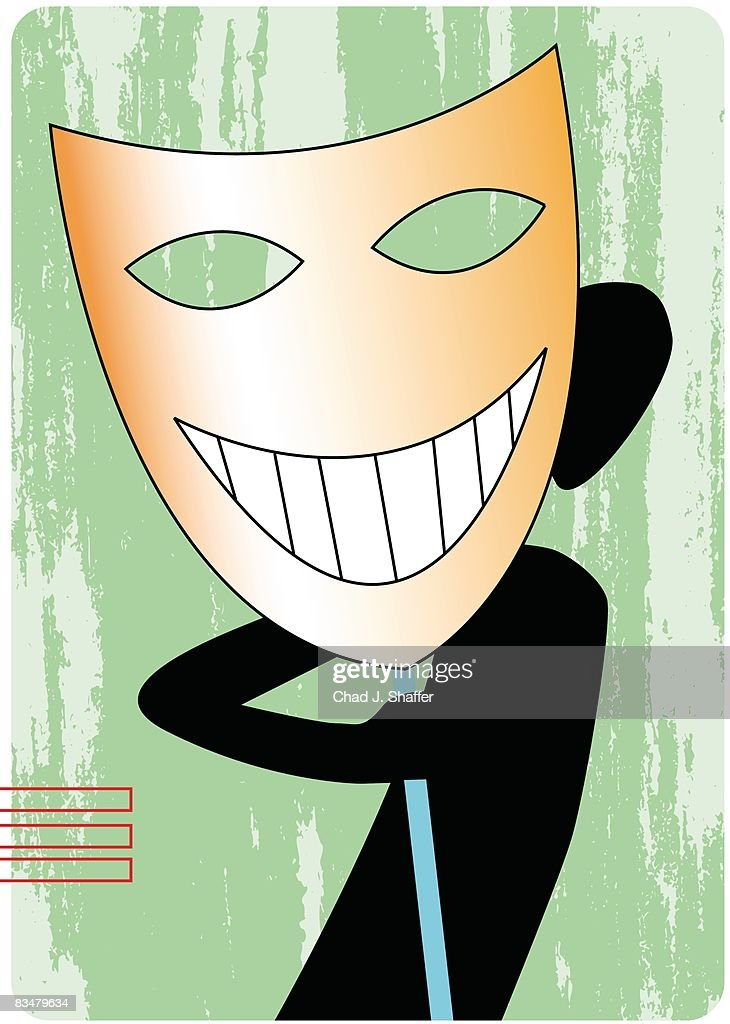 Silhouette of a man looking out from behind a large smiling mask : Ilustração de stock
