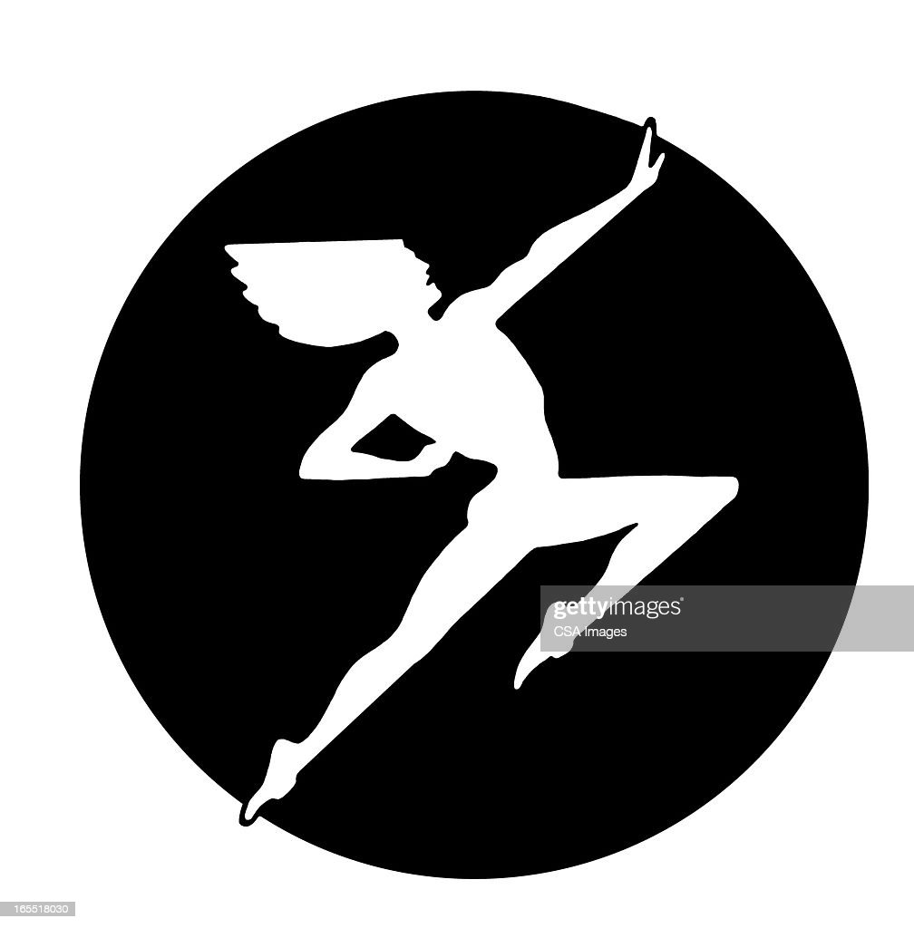 Silhouette of a Person Leaping : Stock Illustration