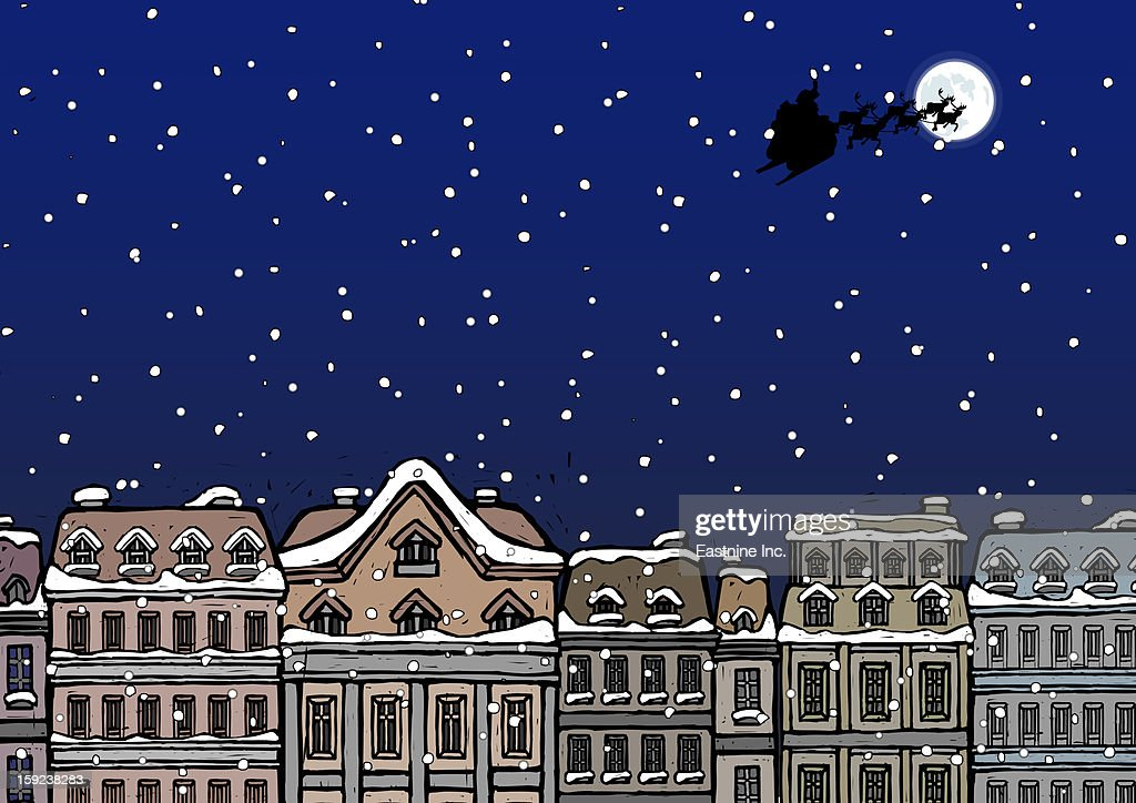 Silhouette of a Santa Claus on a sleigh flying over a city at night : Stock Illustration