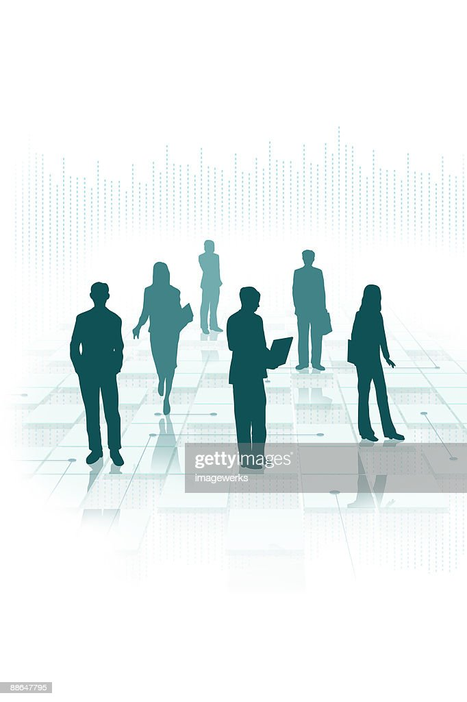 Silhouette of businesspeople (Digital Composite) : Stock Illustration